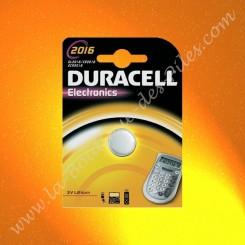 Pile Lithium CR2016 Duracell Electronics, Blister de 1 Pile