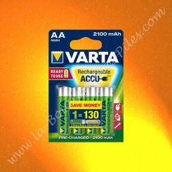 Piles rechargeable LR06 AA Varta Ready to use 2100 mAh Nimh, Blister de 4 piles