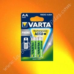 Piles rechargeable LR06 AA Varta Phone 1600 mAh Nimh, Blister de 2 piles