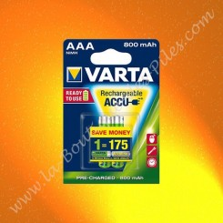 Piles rechargeable LR03 AAA Varta Ready To Use 800 mAh Nimh, Blister de 2 piles