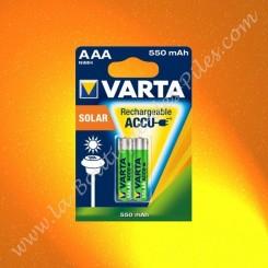 Piles rechargeable LR03 AAA Varta Solar 550 mAh Nimh, Blister de 2 piles