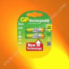 2 piles rechargeable LR03 AAA GP Batterie, 650 mAh Nimh
