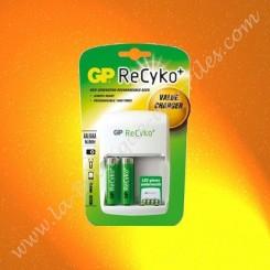 1 chargeur économique GP Batterie, GP Recyko + 2 piles rechargeable LR06 AA GP Batterie
