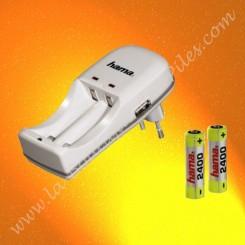 """chargeur économique HAMA """"Twice"""" + 2 piles rechargeable LR06 AA HAMA"""
