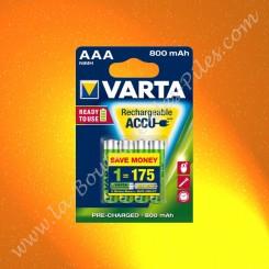 Piles rechargeable LR03 AAA 56703 varta 1,2 volts 800 mAh Nimh Blister de 4 piles