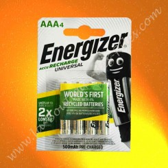 Piles rechargeable LR03 AAA Energizer 1,2 volts 500 mAh