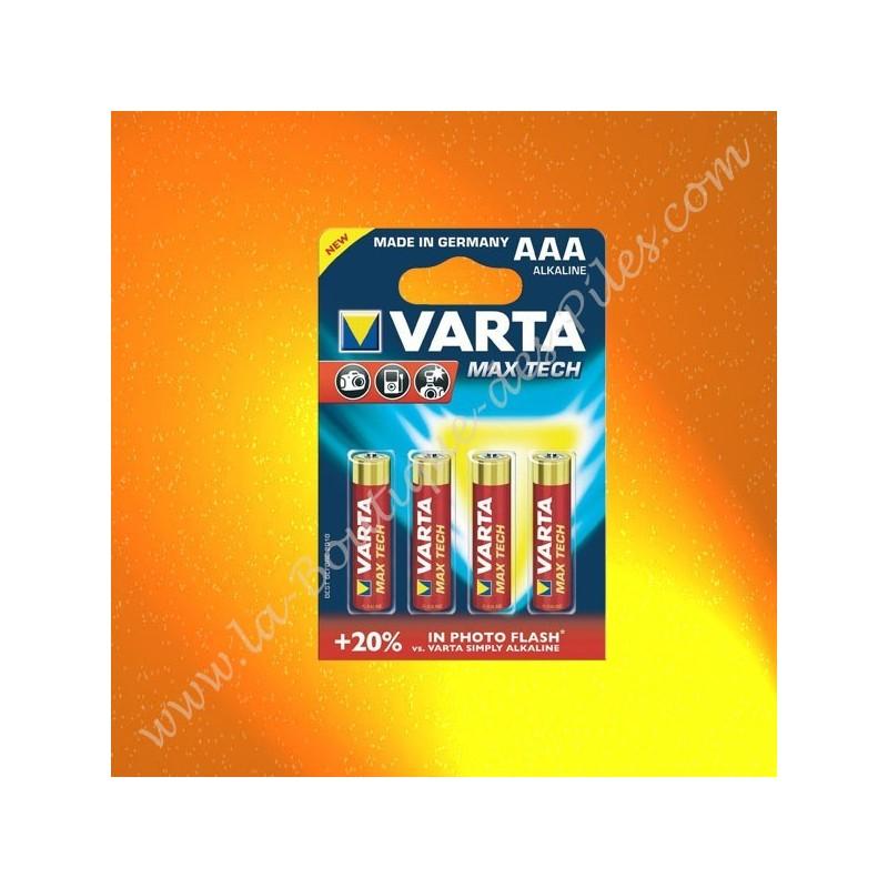 Pile Alcaline LR03 AAA Varta Max Tech, Blister de 4 piles