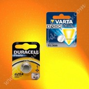 Pile bouton alcaline 1,5 volts V13GA, 625A, Duracell, Varta